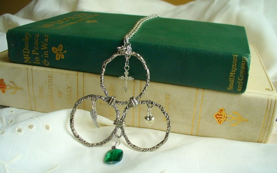 Trinity Necklace with Cross, Heart and Wing Charms,  Re-purposed Vintage OOAK Faith Statement Necklace