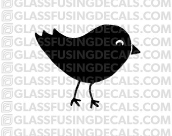 Happy Birdie Glass Fusing Decal for Glass or Ceramics