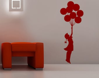 Balloon, Balloon wall decal, girls wall decal, red wall decal, Girl with a balloons wall decal, Kids wall decal, Children wall decal, Modern