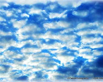 Cloud Photography, Sky Art, Dreamy Nature Print, Pillow Clouds, Blue and White, Surreal, Fine Art Print, Pacific Northwest