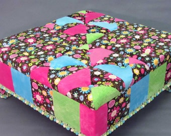 Eclectic Patchwork Furniture, Ottoman, cocktail ottoman, footstool, soft & luxurious Minky Fabric