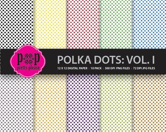 Polka Dot Paper I | Polka Dot Digital Paper | Polka Dots Premade Paper