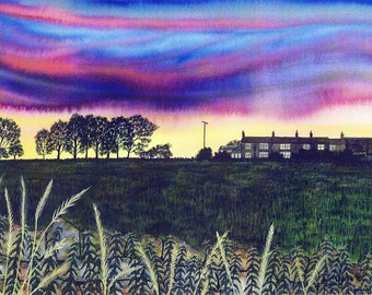"""Greetings card: """"Fishbeck sunset"""" -  landscape card, sunset, cottages, grasses, evening sky, dry stone wall,  from a painting by Liz Clarke"""