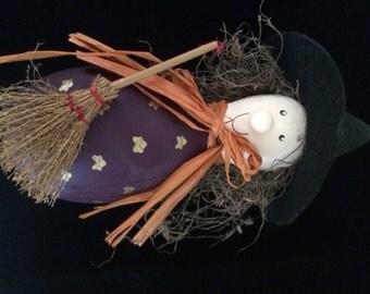 Halloween Paper Mache Witch Decoration
