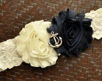 Navy Wedding Garter, Anchor Bridal Garter, Ivory Lace Wedding Garter, Navy Garter, Nautical Garter, Anchor Garter, Ocean Garter, Blue Garter