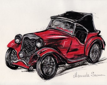 Red Classic Car Illustration 1932 Ford Roadster Retro Art Old Car Painting Car Home Decor Old  Automobile Antique Car Wall Art Drawing