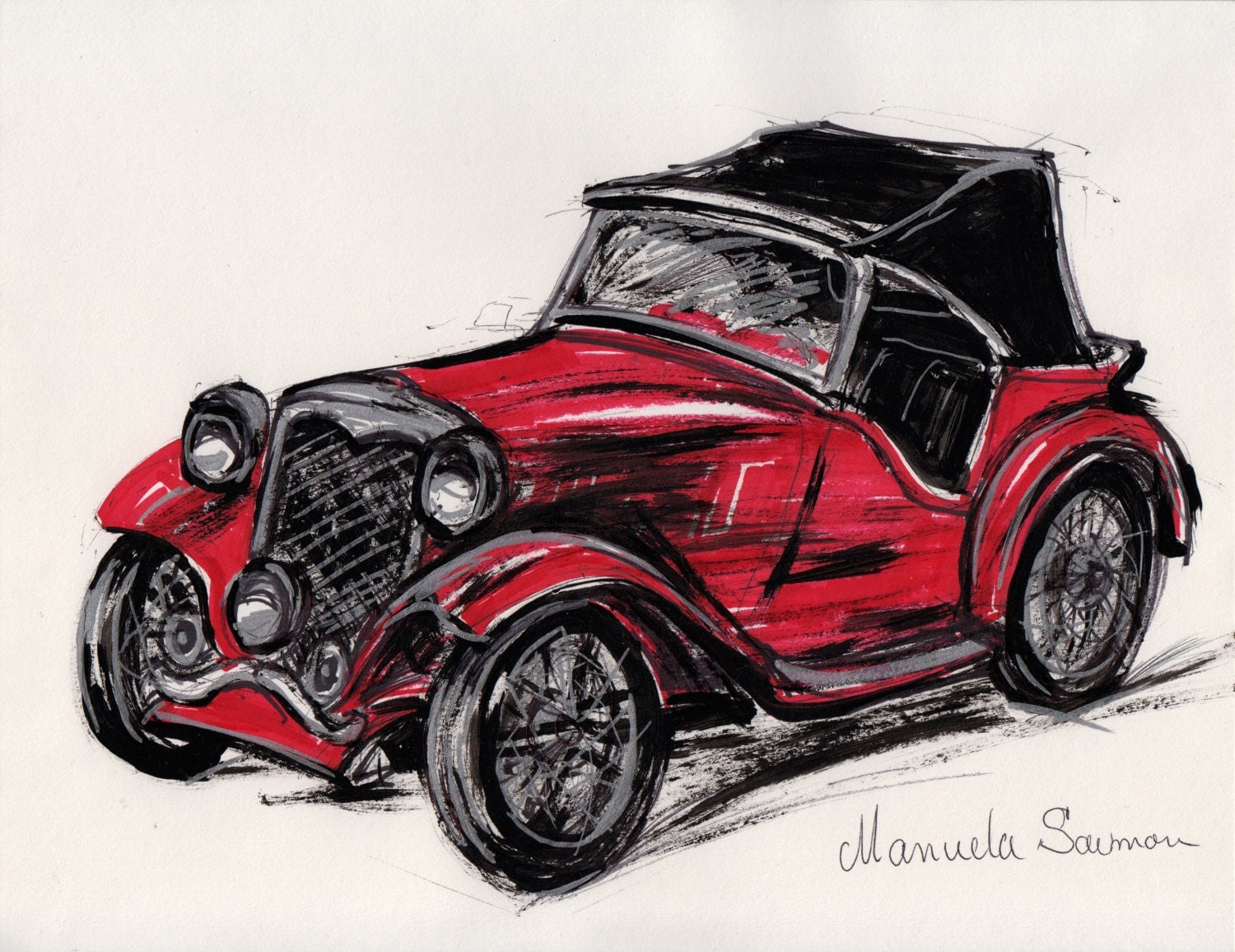 Red classic car illustration 1932 ford roadster retro art old zoom amipublicfo Images