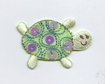 Childrens Light Green Sequin Turtle Iron on Applique  695736A
