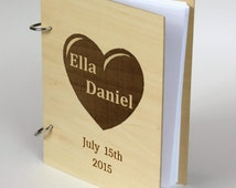 Personalized gift for couple, Custom Guest book, Photoalbum, Valentine day Bridal shower Wedding Anniversary, Rustic Wedding, Laser engraved