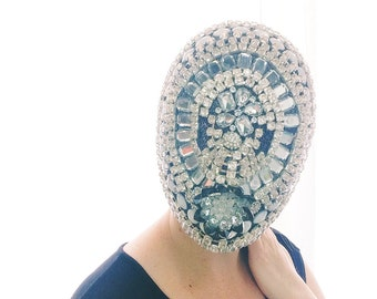 Silver, Glass, Rhinestone Encrusted Full Mask