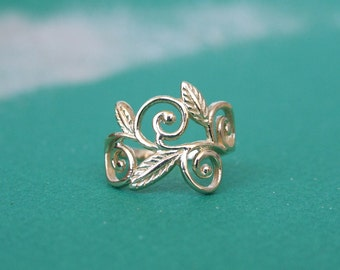 Wrap Leaves Branch Ring, 14K Yellow Gold Plated Ring