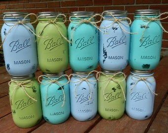 Painted Mason Jars,Rustic Home Decor,Vintage,Wedding Centerpieces, Shabby Chic Mason Jars,French Country,Baby Bridal Shower,Country,Ball Jar