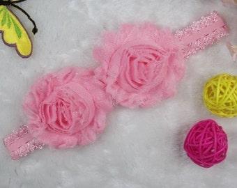 Pink double rose headband
