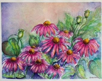 Gift Idea Florals Painting Watercolor Flowers Aquarelle Art Watercolor Pink Flowers Paintings Echinacea Original Art Birthday Gift Wall Art
