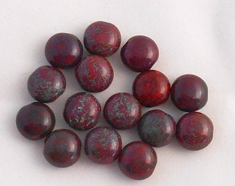 15 Czech  red  picasso glass beads, 10mm round puffy coin beads C31115