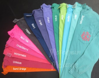 Comfort colors monogrammed long sleeve pocket tee shirt ladies for Custom t shirt design comfort colors