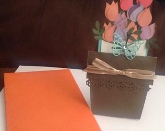 flower pot card, birthday card, anniversary flower card
