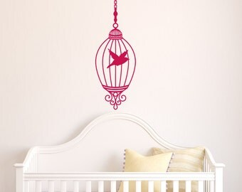 "Cute Decorative Hanging Birdcage Wall Vinyl Decal - 36"" Tall"