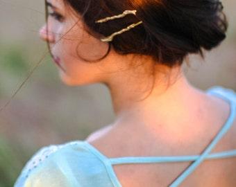 Twig Hair Pins Twig Hair Clip Gold Branch Hair Pins Woodland Hair Pins Branch Hair Clip Twig Barrette Nature Themed Hair
