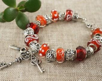 "Euro Bracelet ""Ruby Red"" (#5721)"