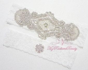 Bridal Garter, Wedding Garter Set, Daimond Applique Garter, Wedding Rhinestone Garter, Handmade Custom Garter, MRB Bridal Garter GTA0010
