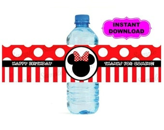 Mickey Mouse Water Bottle Label - Minnie Mouse Printable - Digital - Birthday Party -  Instant Download