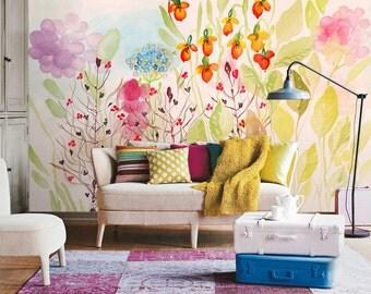 Watercolor Garden Fresh Spring Flower U0026 Leaves Wallpaper Wall Mural Art  Bedroom Wall Paper Pink Lilac Part 70