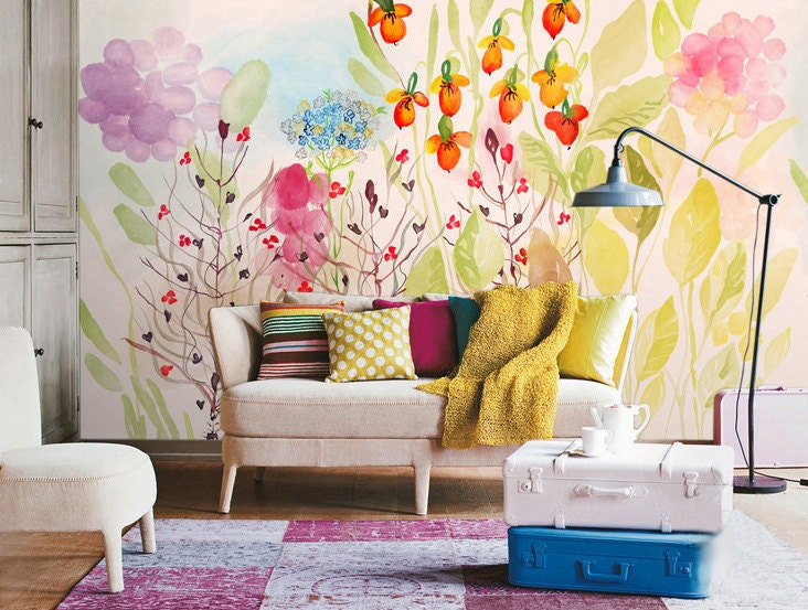 Watercolor Garden Fresh Spring Flower  Leaves Wallpaper Wall - Yellow flower wall decals