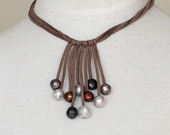 Handmade Leather Necklace with Fresh Water Pearls