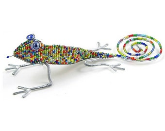 African Fair Trade Beaded Gecko - Wireworx wire and glass beaded animal