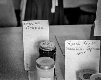 Vintage Black and White Photography Fine Art Print, Goose Grease