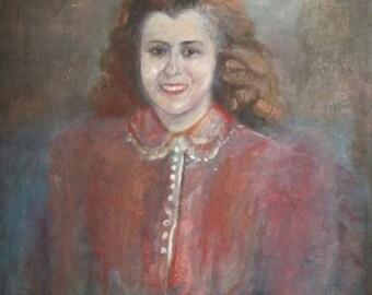 Antique oil painting portrait woman signed