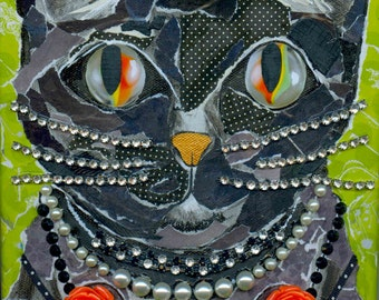 Photographic Print From Original Folk Art Cat With Cat's Eye Marble Eyes & Jewels Mixed Media