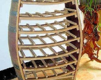 """Whole Barrel Wine Rack from reclaimed wine barrels, holds up to 42 bottles, 36""""h x 26""""w x 10""""d, WBR-36"""