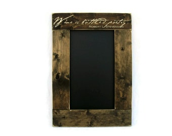Rustic Wooden Framed Kitchen Chalkboard Wall Hanging Home Decor - Wine is Bottled Poetry (#1317-CB)