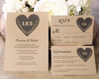 Printable Wedding Invitation Templates, Wedding Invitation set, Kraft Invitation,  RSVP and Info Card, Editable Text - Rustic Heart design