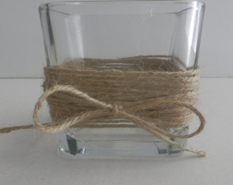 8 Wedding candle holder Rustic wedding Glass square candle holder with wrapped around rope trim .