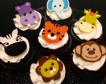 Jungle Animal Fondant Cupcake Toppers
