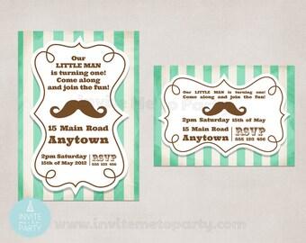 Mustache Bash Invitation Party Invitation / Little Man Party Invitation