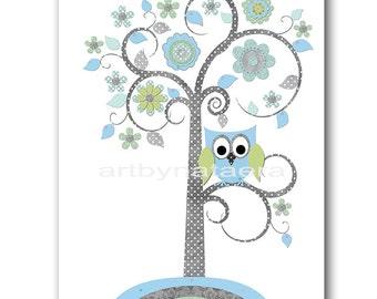 Tree Nursery Download Baby Boy Nursery Decor Digital Wall Art Printable Digital Print Download Art 8x10 11X14 INSTANT DOWNLOAD Owl Blue Gray