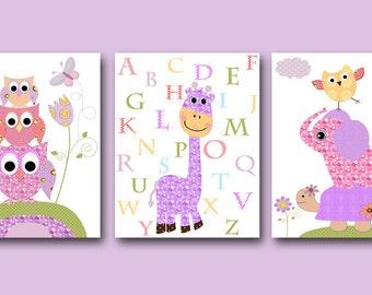 Digital Alphabet Nursery Baby Girl Nursery Art Print Elephant Nursery Children Art Print set of 3 8x10 11X14 Kids INSTANT DOWNLOAD Wall Art