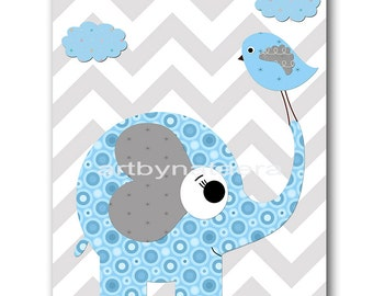 Elephant Nursery Print Kids Art Nursery Digital Print Children Art Baby Boy Nursery Art Baby Boy Room Decor 8x10 11X14 INSTANT DOWNLOAD