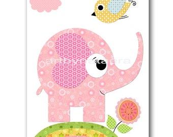 Elephant Nursery Print Kids Art Nursery Digital Print Children Art Baby Girl Nursery Art Baby Girl Room Decor 8x10 11X14 INSTANT DOWNLOAD