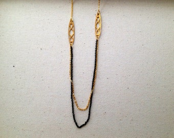 Black and Gold Connector Necklace
