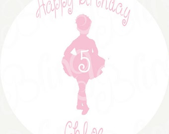 "Ballet 7.5"" Round Edible Icing Sheet Cake Decor Topper - BD02B"
