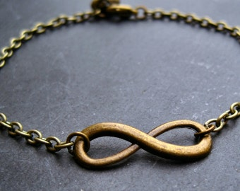 Eternity bracelet vintage heart bracelet antiqued brass friendship bracelet infinity bracelet