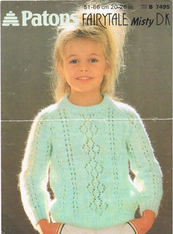 Girls Free Knitting Patterns : Vintage Knitting Pattern PDF: 1980s Patons Fairytale Misty DK