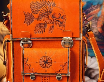 Men's vintage handmade messenger bag, leather, laptop Macbook, pyrographied Pirates 2