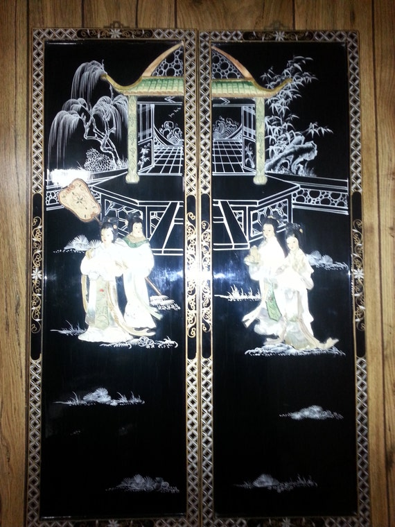 vintage chinese carved shell mother of pearl wall art black. Black Bedroom Furniture Sets. Home Design Ideas