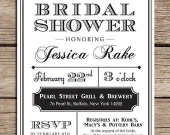 Printable Vintage Bridal Shower Invitation, Made to order, Many color options, Downloadable File, Wedding